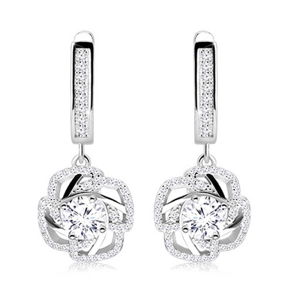 Šperky eshop Náušnice zo striebra 925 - zirkónový obrys kvetu s lupeňmi, číry zirkón uprostred