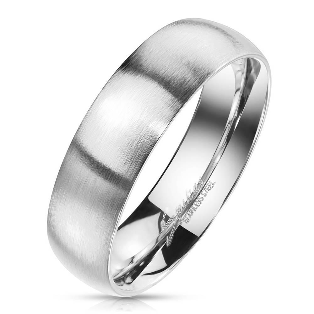 Šperky eshop Oceľová obrúčka striebornej farby - matný povrch, 4 mm - Veľkosť: 49 mm