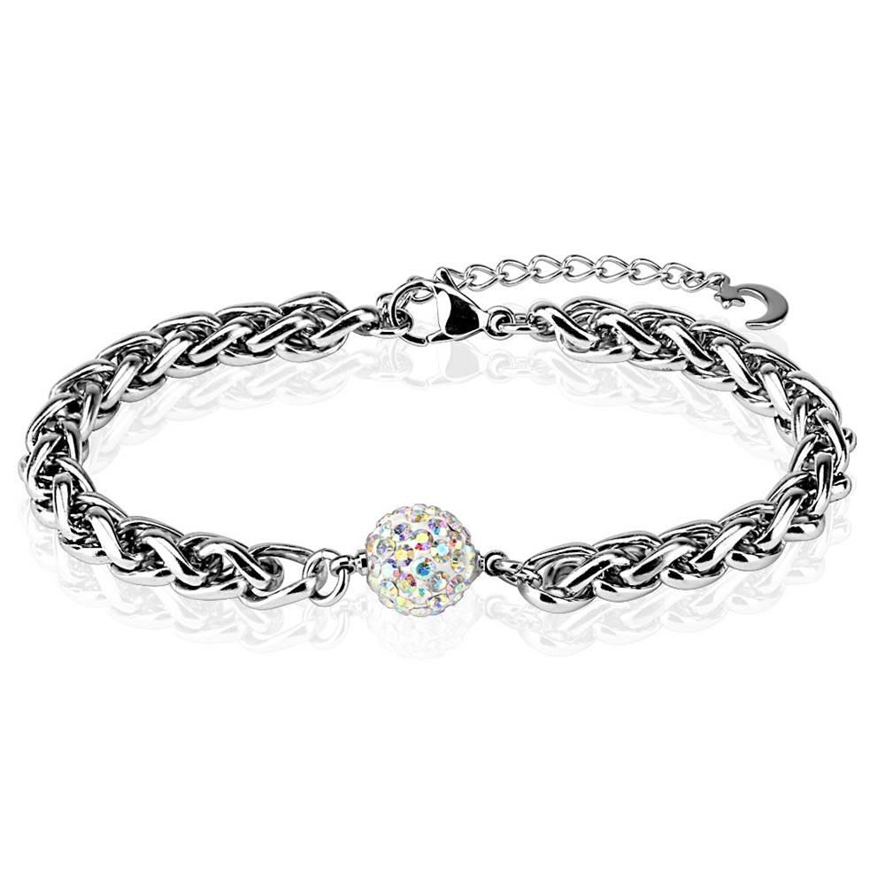 Šperky eshop Oceľový náramok striebornej farby - Shamballa gulička vykladaná trblietavými zirkónikmi - Farba: Dúhová