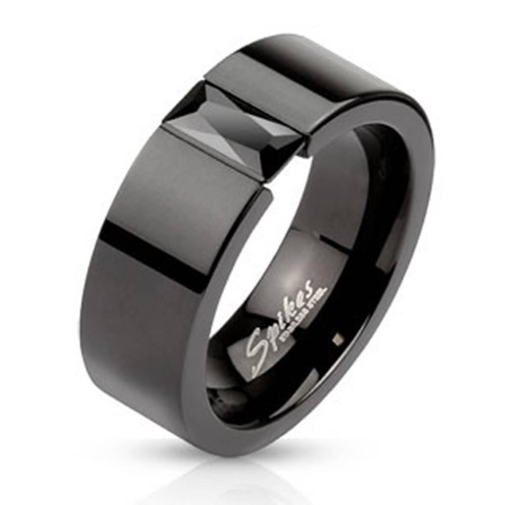 Šperky eshop Oceľový prsteň v čiernom odtieni - ligotavý čierny zirkón, 6 mm - Veľkosť: 49 mm