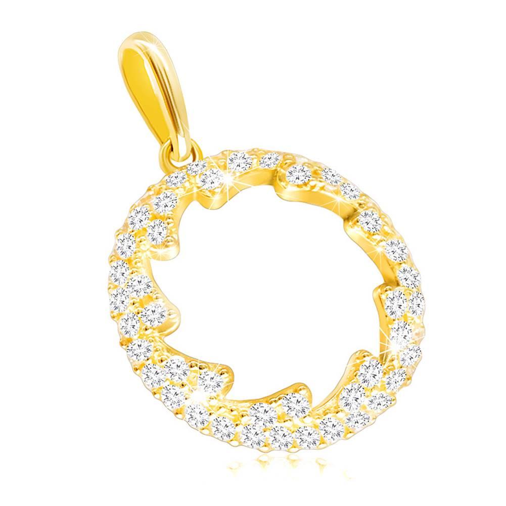 Šperky eshop Prívesok zo žltého zlata 585 - obrys kruhu s kvietkovaným výrezom, číre zirkóniky