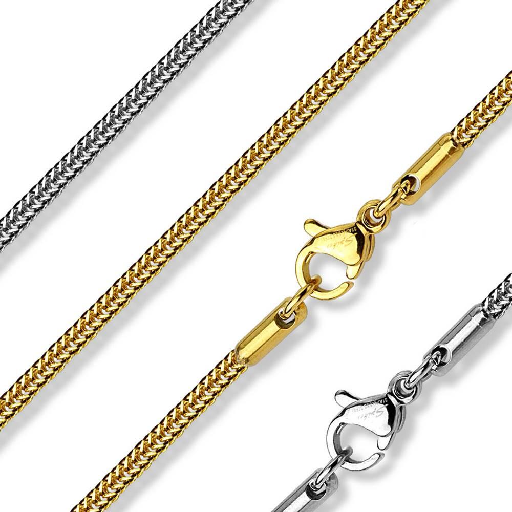 Šperky eshop Retiazka z ocele - hranatá retiazka z husto pospájaných očiek, 430 mm - Farba: Strieborná