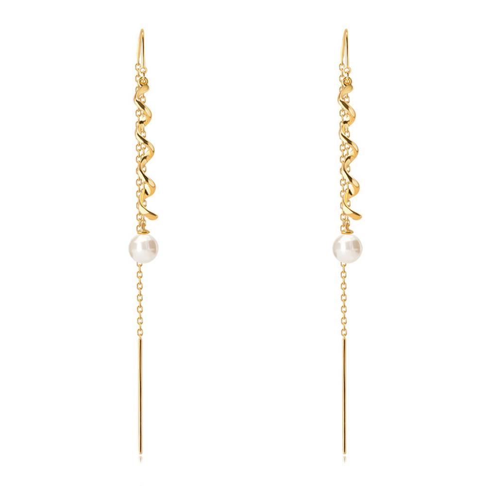 Šperky eshop Visiace zlaté 9K náušnice - kontúra vlnky a okrúhla perla bielej farby