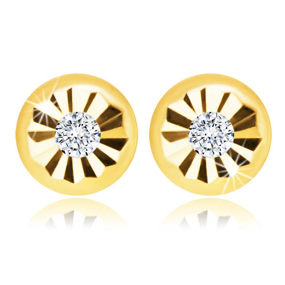 Šperky eshop Zlaté puzetové náušnice 585 - motív kvetu s čírym zirkónikom uprostred
