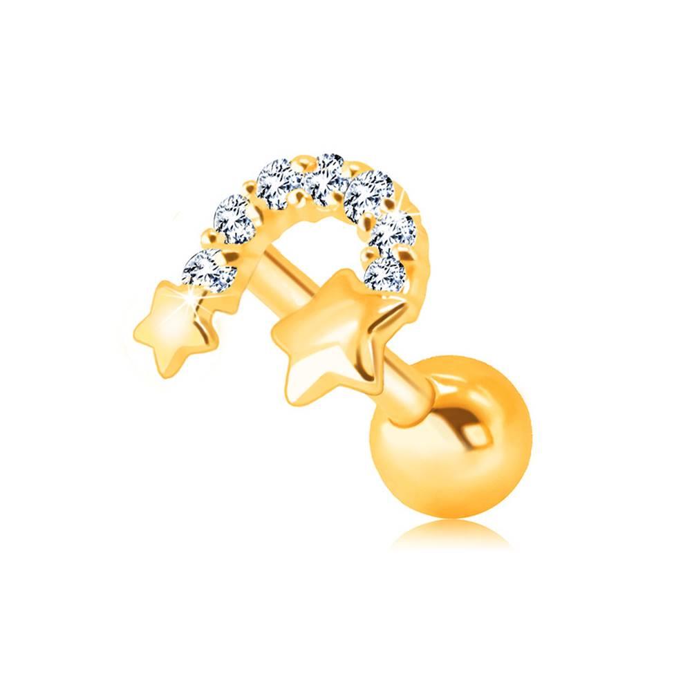 Šperky eshop Zlatý 375 piercing do brady a pery - dve hviezdičky spojené zirkónovým oblúkom