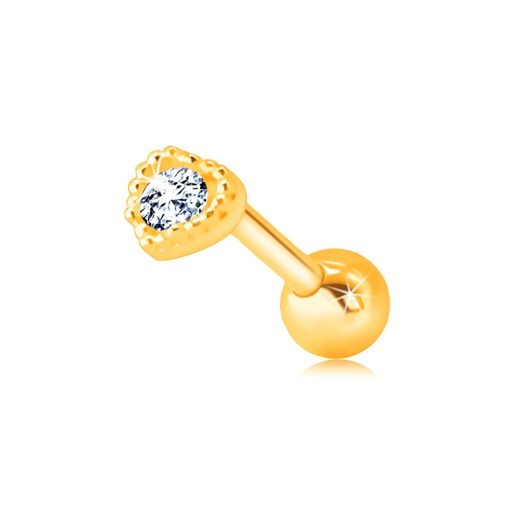 Šperky eshop Zlatý 585 piercing do pery alebo brady - kontúra pravidelného srdiečka s čírym zirkónom