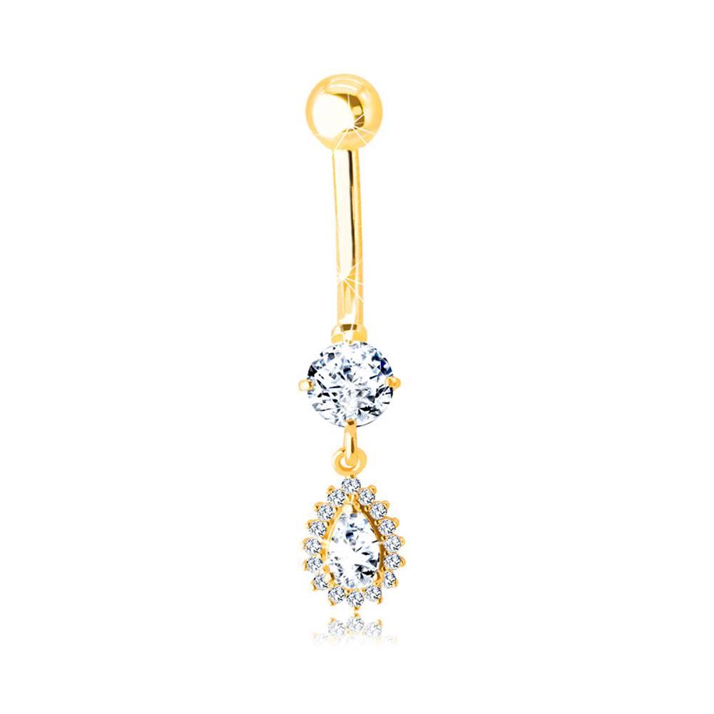 Šperky eshop Zlatý 585 piercing do pupku - zirkónová slzička s trblietavým lemom